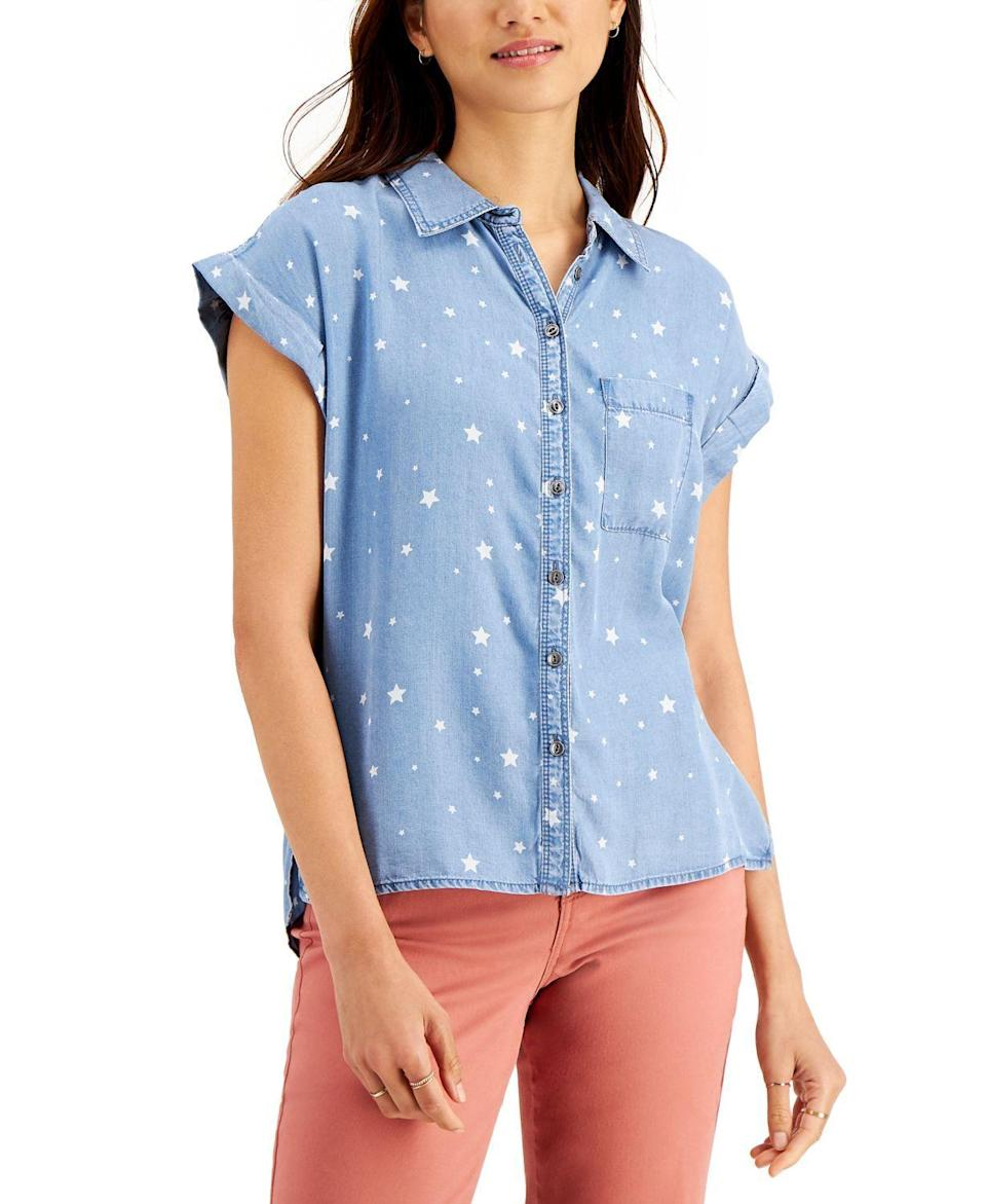 """<p><strong>Style & Co</strong></p><p>macys.com</p><p><strong>$49.50</strong></p><p><a href=""""https://go.redirectingat.com?id=74968X1596630&url=https%3A%2F%2Fwww.macys.com%2Fshop%2Fproduct%2Fstyle-co-printed-chambray-camp-shirt-created-for-macys%3FID%3D10790779%26CategoryID%3D73310&sref=https%3A%2F%2Fwww.bestproducts.com%2Ffashion%2Fg2353%2Fchambray-shirts-blouses-for-women%2F"""" rel=""""nofollow noopener"""" target=""""_blank"""" data-ylk=""""slk:Shop Now"""" class=""""link rapid-noclick-resp"""">Shop Now</a></p><p>Finally! This wear-with-everything patterned chambray top is exactly what your <a href=""""https://www.bestproducts.com/fashion/accessories/g1573/long-maxi-dresses/"""" rel=""""nofollow noopener"""" target=""""_blank"""" data-ylk=""""slk:maxi skirts"""" class=""""link rapid-noclick-resp"""">maxi skirts</a> have been waiting for. It's a summer staple you'll want to wear all season.</p>"""
