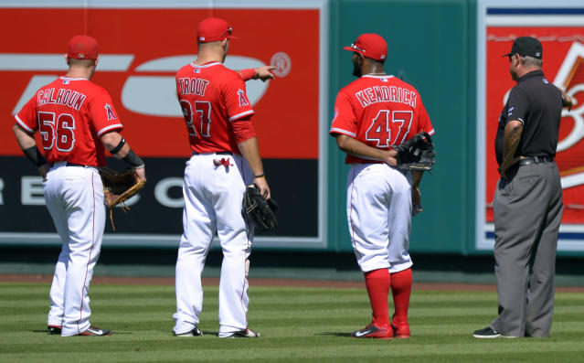 From left to right, Los Angeles Angels' Kole Calhoun, Mike Trout, Howie Kendrick and umpire Jim Joyce look at what is left of a swarm of bees during the fourth inning of a baseball game against the Seattle Mariners, Sunday, Sept. 22, 2013, in Anaheim, Calif. The swarm held up the game for several minutes in the third and fourth innings. (AP Photo/Mark J. Terrill)