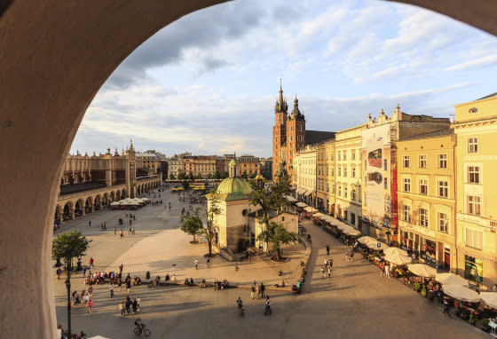Main square with St. Mary's basilica, Krakow, Poland