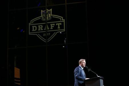 FILE PHOTO: Apr 27, 2017; Philadelphia, PA, USA; NFL commissioner Roger Goodell speaks before the 8th pick in the first round the 2017 NFL Draft at the Philadelphia Museum of Art. Mandatory Credit: Bill Streicher-USA TODAY Sports