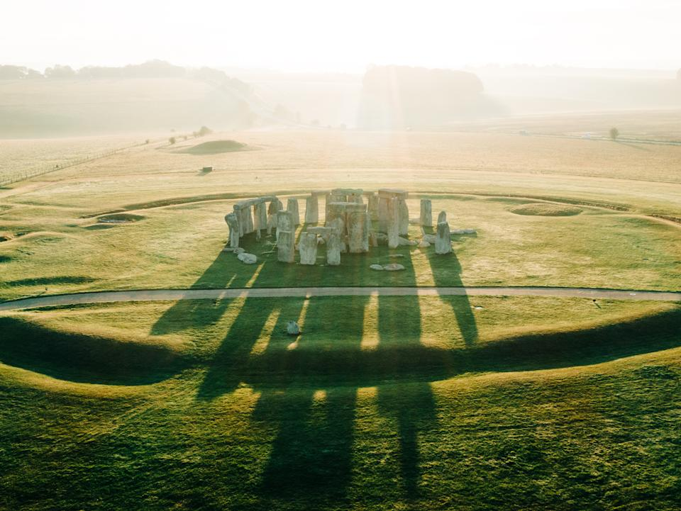 An aerial view of Stonehenge on a beautiful morning (Getty Images)