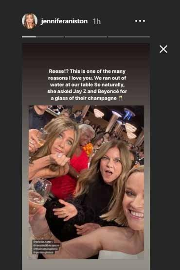 The actress showed off her case of gifted champagne on her Instagram Story.