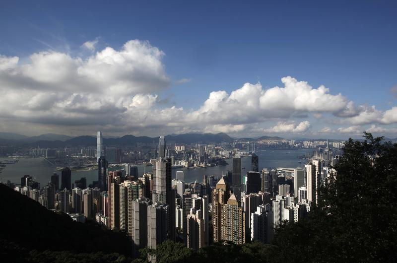 The Hong Kong skyline is seen from the Peak