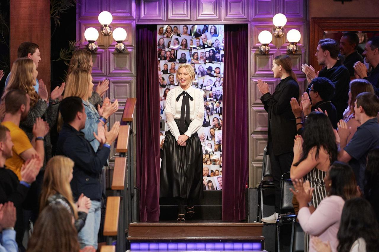 <p><strong>11 March  </strong>Emily Blunt appeared on The Late Late Show with James Corden wearing a leather skirt, pussy-bow blouse and Malone Souliers boots. </p>