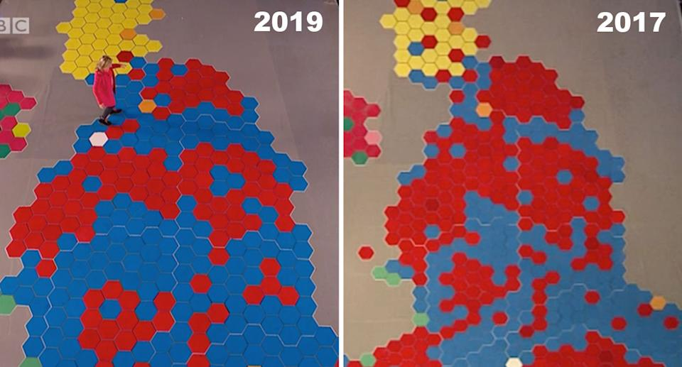 The large map showing the changes between elections. (BBC)