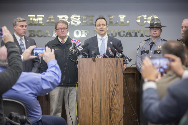 <p>Gov. Matt Bevin speaks during a media briefing at the Marshall County Board of Education following a shooting at Marshall County High School in Benton, Ky., Jan. 23, 2018. (Photo: Ryan Hermens/The Paducah Sun via AP) </p>