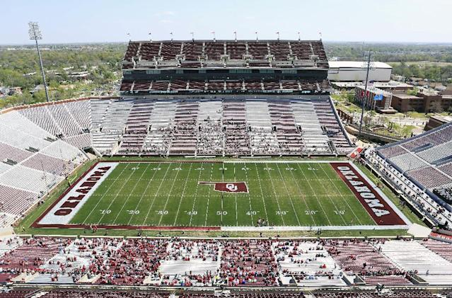 The new paint on the Gaylord Family Oklahoma Memorial Stadium that fans chose during an online voting for the Oklahoma NCAA college spring football game in Norman, Okla., on Saturday, April 12, 2014. (AP Photo/Alonzo Adams)
