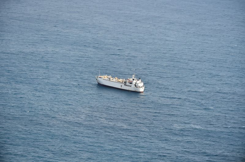 "Livestock ship ""Kharim Allah"" is seen at sea near Cartagena, in Spain"