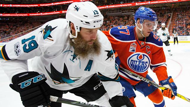 """Thornton missed the first two games of the Oilers series but played Games 3 through 6 even though """"basically his knee was floating."""""""