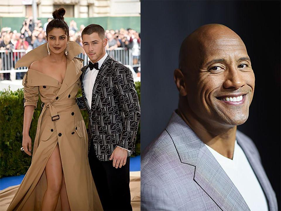 """<p>The Rock appeared alongside Priyanka in the remake of Baywatch in 2017, and then worked with Nick on Jumanji later that year. In July 2018, he joked with <a href=""""https://www.etonline.com/dwayne-johnson-jokes-he-set-up-his-former-co-stars-nick-jonas-and-priyanka-chopra-exclusive-105678"""" rel=""""nofollow noopener"""" target=""""_blank"""" data-ylk=""""slk:Entertainment Tonight"""" class=""""link rapid-noclick-resp"""">Entertainment Tonight</a> that he was claiming credit for their romance.</p><p>""""Are they happy?"""", he asked, before adding, """"Well then, I take credit. Baywatch and Jumanji. I did it, yes. If they're happy.""""</p>"""