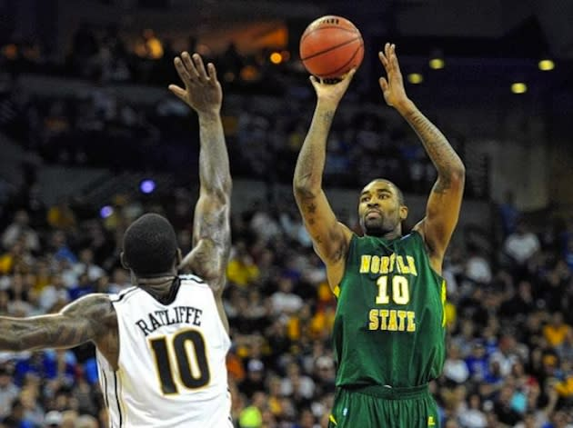 Norfolk State star Kyle O'Quinn fires a shot against Missouri — Getty Images