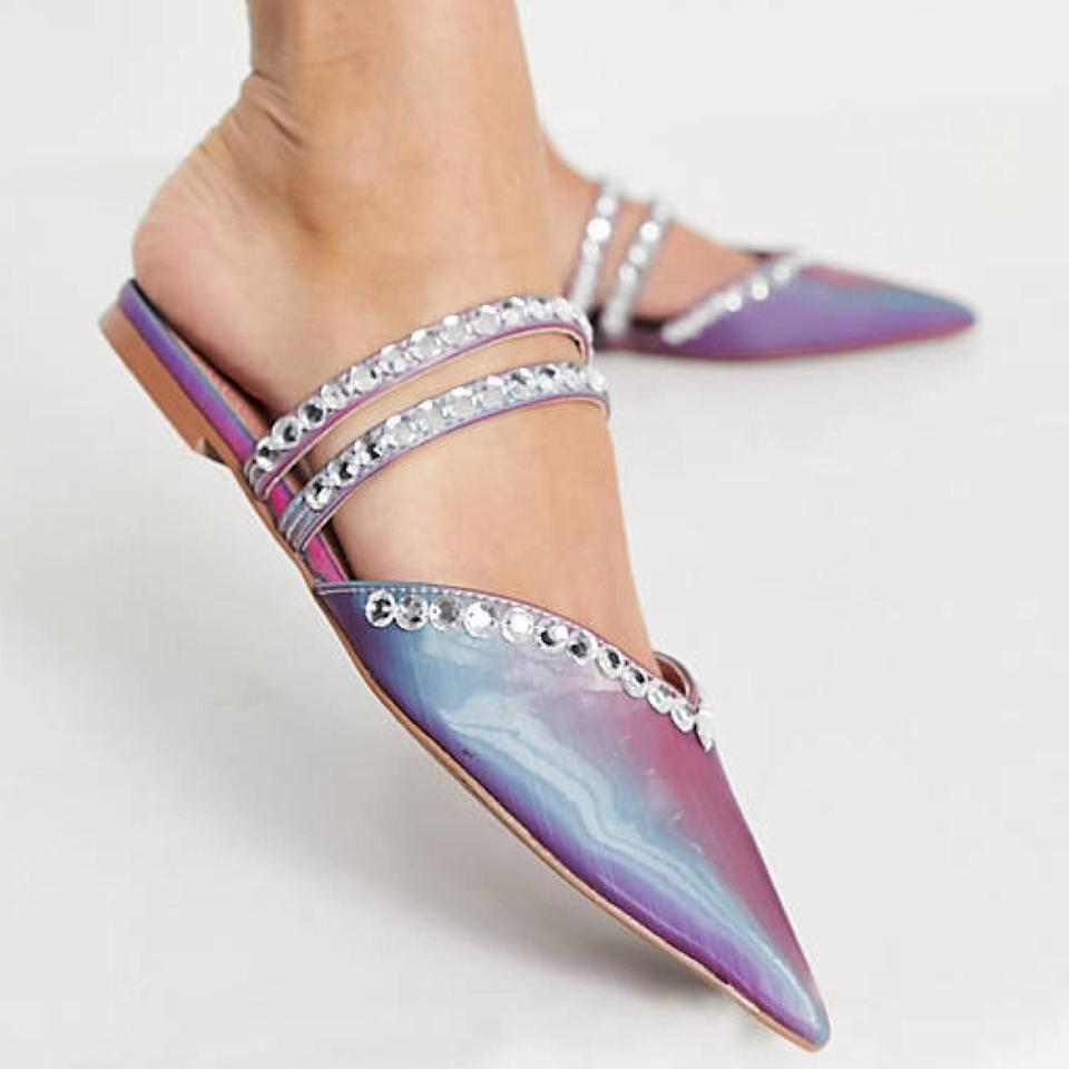 Here's a trick—the sparklier the shoe, the more it will distract from anyone daring to judge you for wearing flats. The closed-toe style also means you can skip the last-minute pedi.