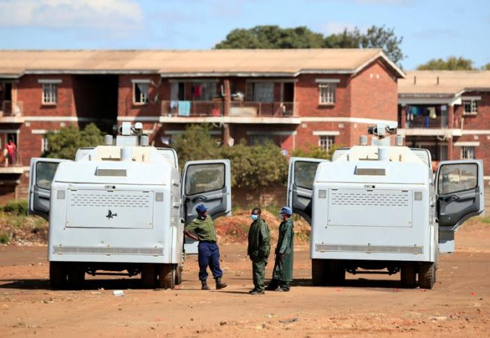 Police patrol during a 21-day nationwide lockdown called to help curb the spread of coronavirus disease (COVID-19), in Harare