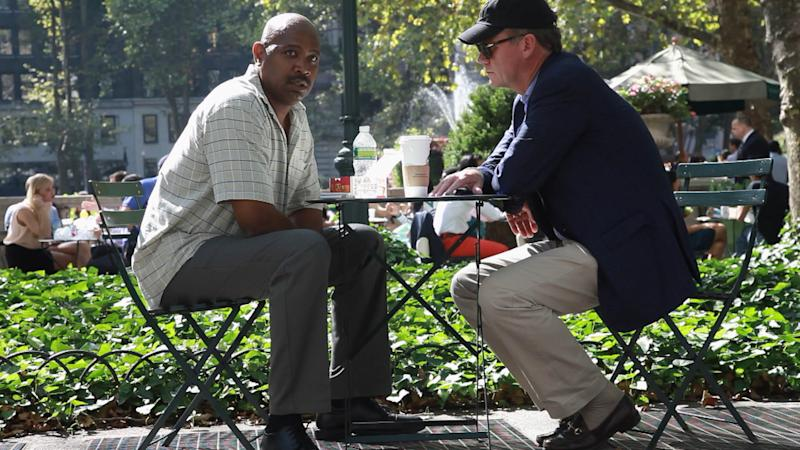 "This undated image from video released by NBC shows NBC News' Chris Hansen, right, meeting with an alleged hit man in New York's Bryant Park during the filming of a ""Dateline NBC"" special ""Wild, Wild Web,"" airing Friday, Oct. 26, 2012. Hansen negotiates with an alleged hit man and explores some of the strange and dangerous business being carried out online on sites like Craig's List. (AP Photo/NBC News)"