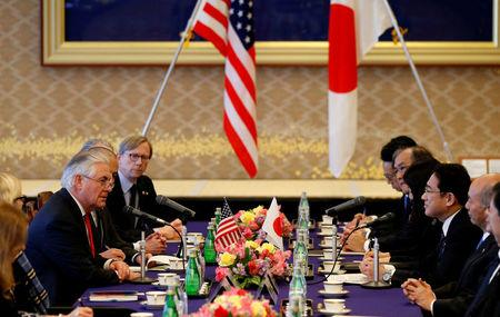U.S. Secretary of State Rex Tillerson (L) speaks to Japan's Foreign Minister Fumio Kishida during their meeting at the foreign ministry's Iikura guest house in Tokyo, Japan, March 16, 2017.   REUTERS/Toru Hanai
