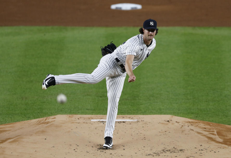 NEW YORK, NEW YORK - SEPTEMBER 16: (NEW YORK DAILIES OUT)  Gerrit Cole #45 of the New York Yankees in action against the Toronto Blue Jays at Yankee Stadium on September 16, 2020 in New York City. The Yankees defeated the Blue Jays 13-2. (Photo by Jim McIsaac/Getty Images)