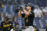 Pittsburgh Pirates' Bryan Reynolds gestures after hitting a home run during the sixth inning of the team's baseball game against the San Diego Padres, Wednesday, May 5, 2021, in San Diego. (AP Photo/Gregory Bull)