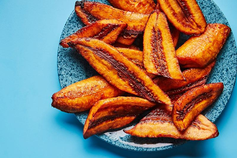 """To make these garlicky plantains, skip the first fry and just slip thawed frozen fried ripe plantains into the """"garlic water,"""" then proceed with the recipe as instructed."""