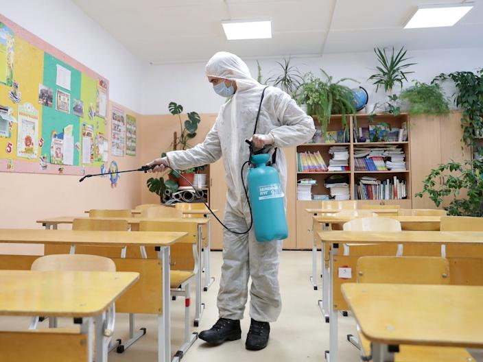 A secondary school in in Sverdlovsk Region, Russia, is disinfected.