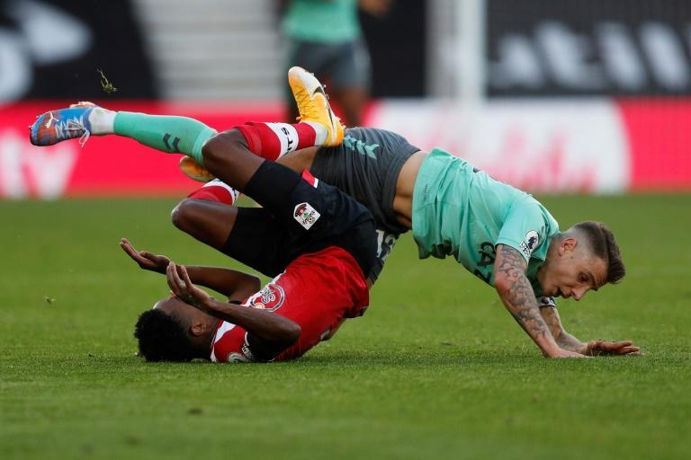 Everton defender Lucas Digne (right) fouls Southampton's Kyle Walker-Peters