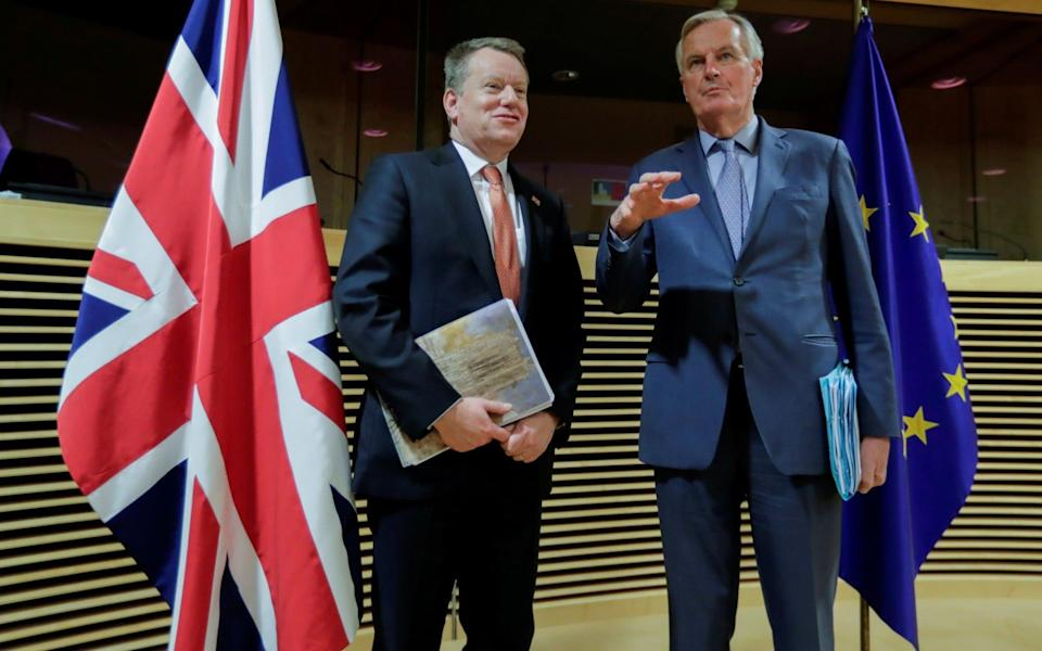 David Frost and Michel Barnier, pictured before earlier trade negotiations - Reuters