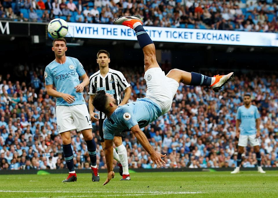 Sergio Aguero shoots at goal with an overhead kick before a goal is disallowed Action Images via Reuters/Jason Cairnduff