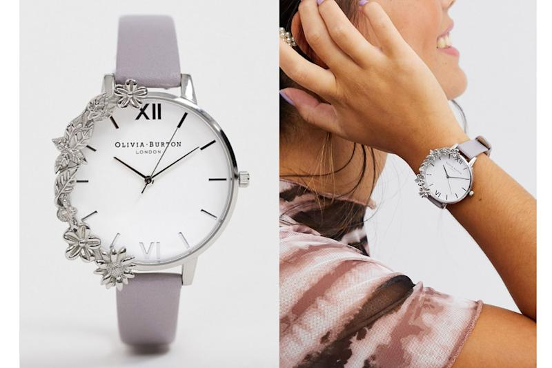 Olivia Burton cuff watch with floral case in silver