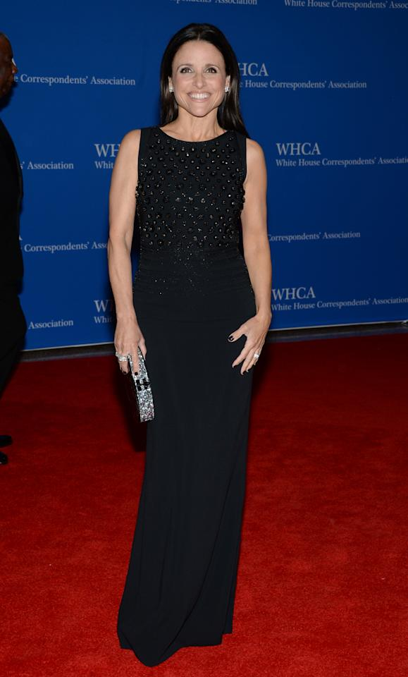 Julia Louis-Dreyfus arrives at the White House Correspondents' Association Dinner at the Washington Hilton Hotel, Saturday, May 3, 2014, in Washington. (Photo by Evan Agostini/Invision/AP)