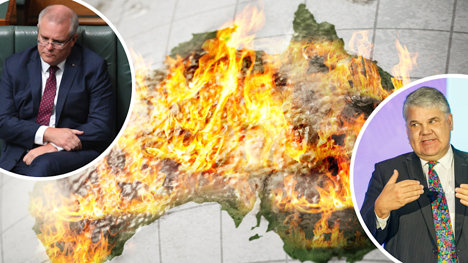 a map of australia burning and scott morrison, stephen koukoulas