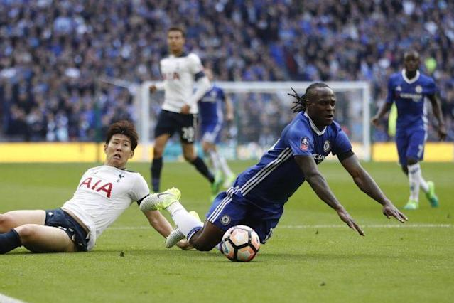 Son Heung-Min brought down Victor Moses in the box