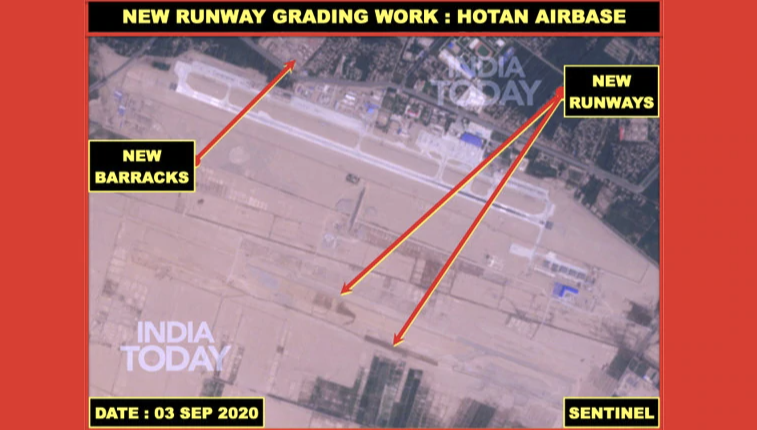 Images shared on India Today show what is believed to be the accelerated construction of new runways, barracks and military buildings. Source: India Times/ Sentinel