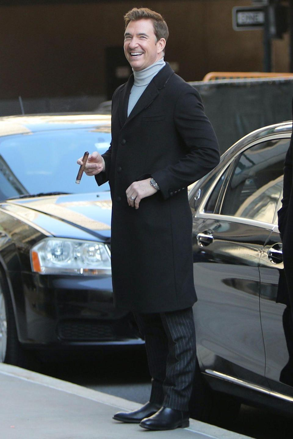 <p>Dylan McDermott is in great spirits on the set of <em>Law and Order Organized Crime</em> in N.Y.C. on Wednesday.</p>