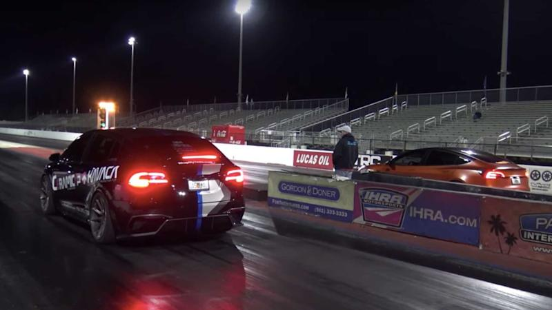 Tesla Model 3 vs Model X Drag Race