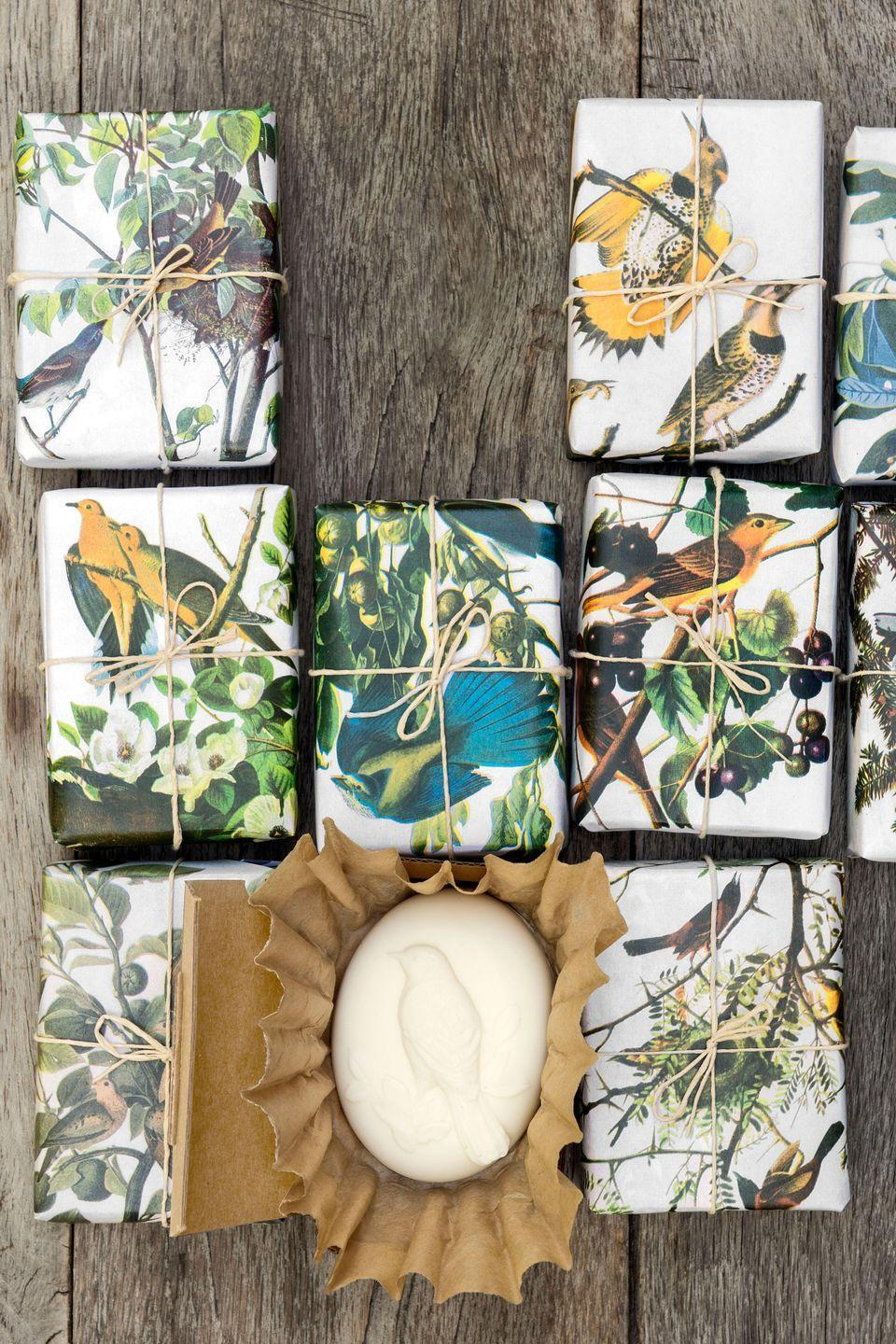 """<p>A goat's-milk formula and a beguiling bird mold—along with thoughtful packaging—result in bars that seem like they cost a fortune. First, <a href=""""https://www.amazon.com/s/ref=nb_sb_noss_2?url=search-alias%3Darts-crafts&field-keywords=goat+milk+soap+base&tag=syn-yahoo-20&ascsubtag=%5Bartid%7C10050.g.645%5Bsrc%7Cyahoo-us"""" rel=""""nofollow noopener"""" target=""""_blank"""" data-ylk=""""slk:melt the soap"""" class=""""link rapid-noclick-resp"""">melt the soap</a> according to package instructions<em>. </em>Pour the mixture into the <a href=""""https://www.amazon.com/Ozera-Cavities-Silicone-Cake-Mold/dp/B00Q7T5H38?tag=syn-yahoo-20&ascsubtag=%5Bartid%7C10050.g.645%5Bsrc%7Cyahoo-us"""" rel=""""nofollow noopener"""" target=""""_blank"""" data-ylk=""""slk:silicone mold"""" class=""""link rapid-noclick-resp"""">silicone mold</a><em>. </em>Let it set for four hours, then pop out your bar. To wrap these soaps, we used unbleached coffee filters, <a href=""""http://www.sunshinecontainer.com/"""" rel=""""nofollow noopener"""" target=""""_blank"""" data-ylk=""""slk:rectangular cardboard boxes"""" class=""""link rapid-noclick-resp"""">rectangular cardboard boxes</a><em>, </em>and paper color-copied from a vintage bird guide. Enclose each oval soap in a coffee filter before boxing—the ruffles gather neatly around curves.</p><p><strong><a class=""""link rapid-noclick-resp"""" href=""""https://www.amazon.com/s/ref=nb_sb_noss_2?url=search-alias%3Darts-crafts&field-keywords=goat+milk+soap+base&tag=syn-yahoo-20&ascsubtag=%5Bartid%7C10050.g.645%5Bsrc%7Cyahoo-us"""" rel=""""nofollow noopener"""" target=""""_blank"""" data-ylk=""""slk:SHOP GOAT'S MILK BASE"""">SHOP GOAT'S MILK BASE</a></strong></p>"""