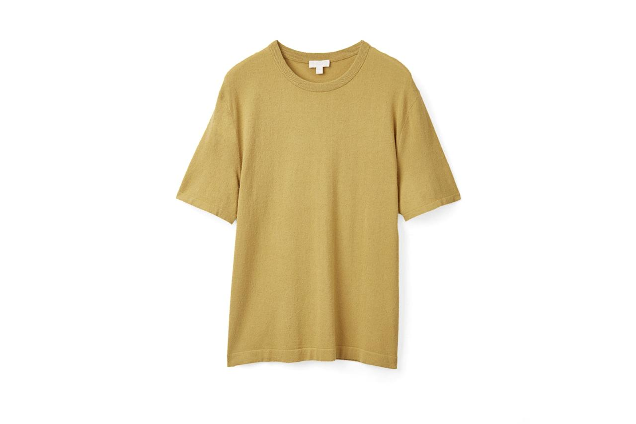 """$79, COS. <a href=""""https://www.cosstores.com/en_usd/men/sale/product.textured-knit-t-shirt-chartreuse-yellow.0771398002.html"""">Get it now!</a>"""