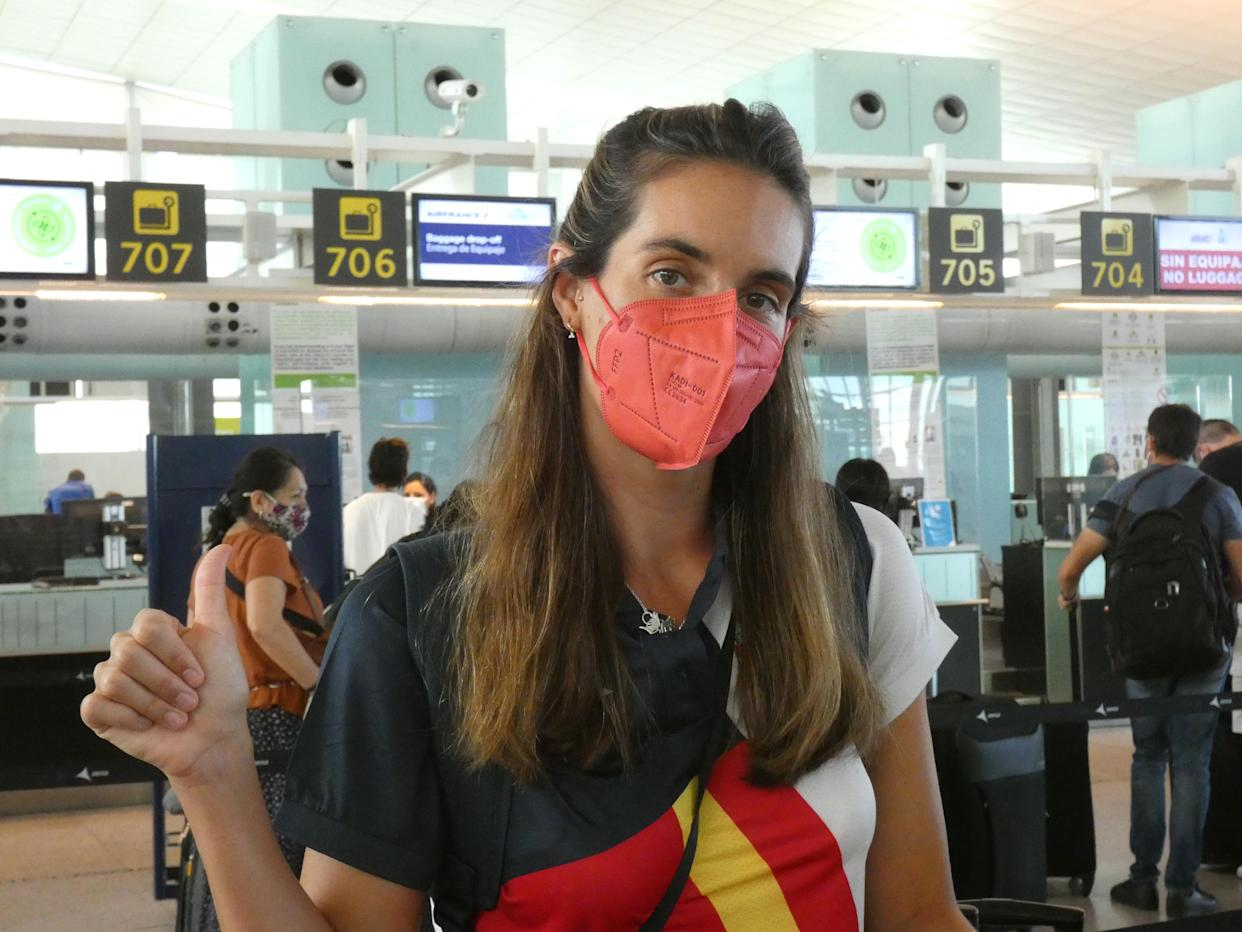 BARCELONA, SPAIN - JULY 21: Ona Carbonell at the airport on 21 July 2021, in Barcelona, Spain. (Photo By Ana Belen Morant/Europa Press via Getty Images)