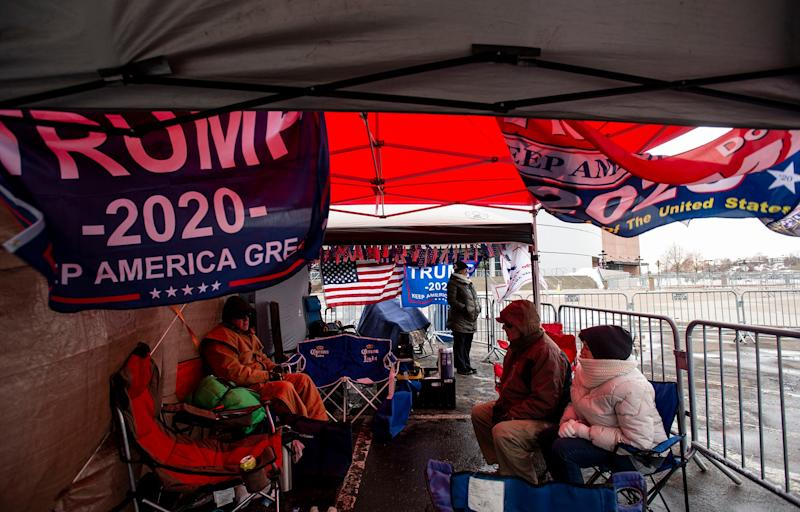 """Trump's Front Row Joes"" group are first in line outside the Broadmoor World Arena in preparation for President Donald Trump's Colorado Springs campaign rally in Colorado Springs, Colo., on Wednesday, Feb. 19, 2020."
