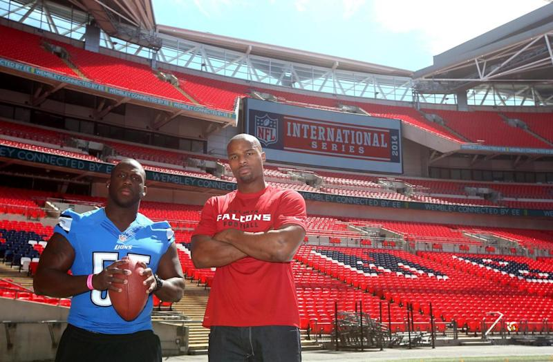 London-born Umenyiora played at Wembley for the Atlanta Falcons during the 2014 International Series (Getty Images)