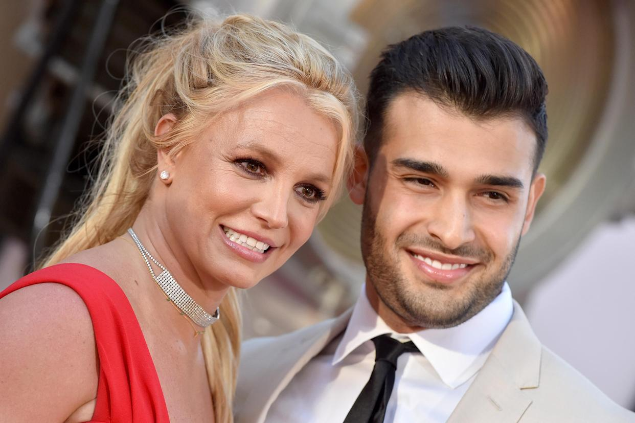 HOLLYWOOD, CALIFORNIA - JULY 22: Britney Spears and Sam Asghari attend Sony Pictures'