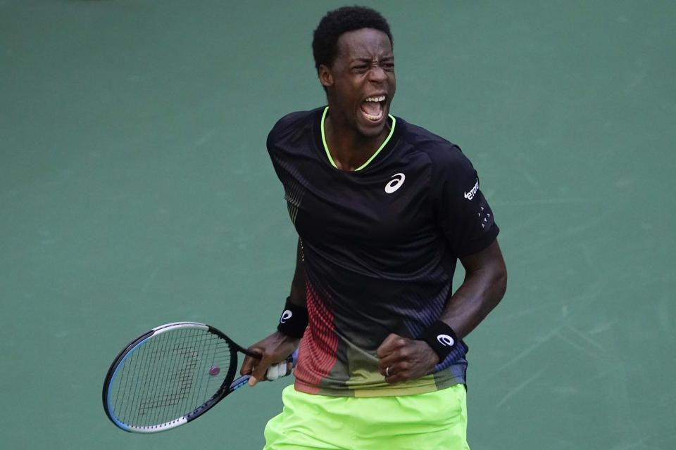 Gael Monfils, of France, reacts after winning a set against Jannik Sinner, of Italy, during the third round of the US Open tennis championships, Saturday, Sept. 4, 2021, in New York. (AP Photo/Seth Wenig)