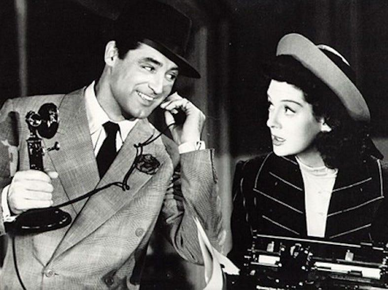 """Cary Grant and Rosalind Russell costar in """"His Girl Friday."""""""