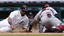St. Louis Cardinals catcher Yadier Molina, right, tags Detroit Tigers' Isaac Paredes out at home plate in the sixth inning of a baseball game in Detroit, Wednesday, June 23, 2021. (AP Photo/Paul Sancya)