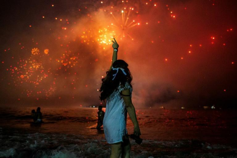 Fireworks at Rio de Janeiro's New Year's Eve party at Copacabana Beach on December 31, 2019