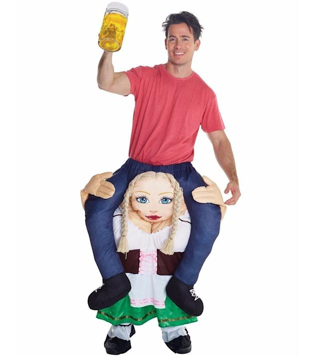 """This <span>""""piggyback beer wench""""</span>is actually a multi-use costume. Not only can you wear it to Halloween parties, you can wear it to anything vaguely Oktoberfest-related. Some people may find it offensive, but take heart: You're still going to be more popular than the Pickle Apron guy."""
