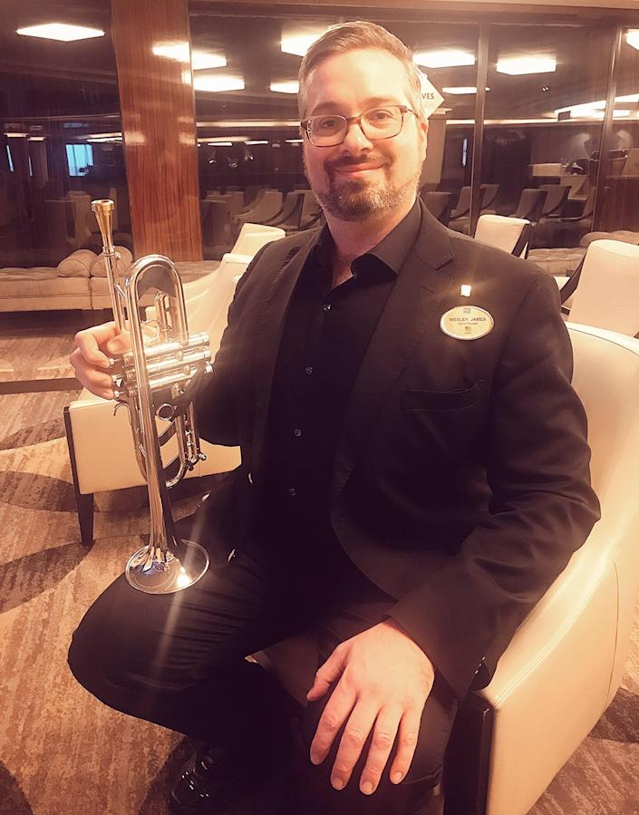 Wesley James, a bandleader and trumpet player, is one of thousands of idle crew members on cruise ships around the world. The passengers have gone home. Now they are trying to get home as well. Photo courtesy of Wesley James.