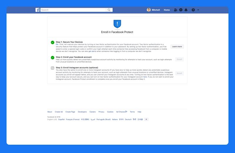 Enroll in Facebook Protect