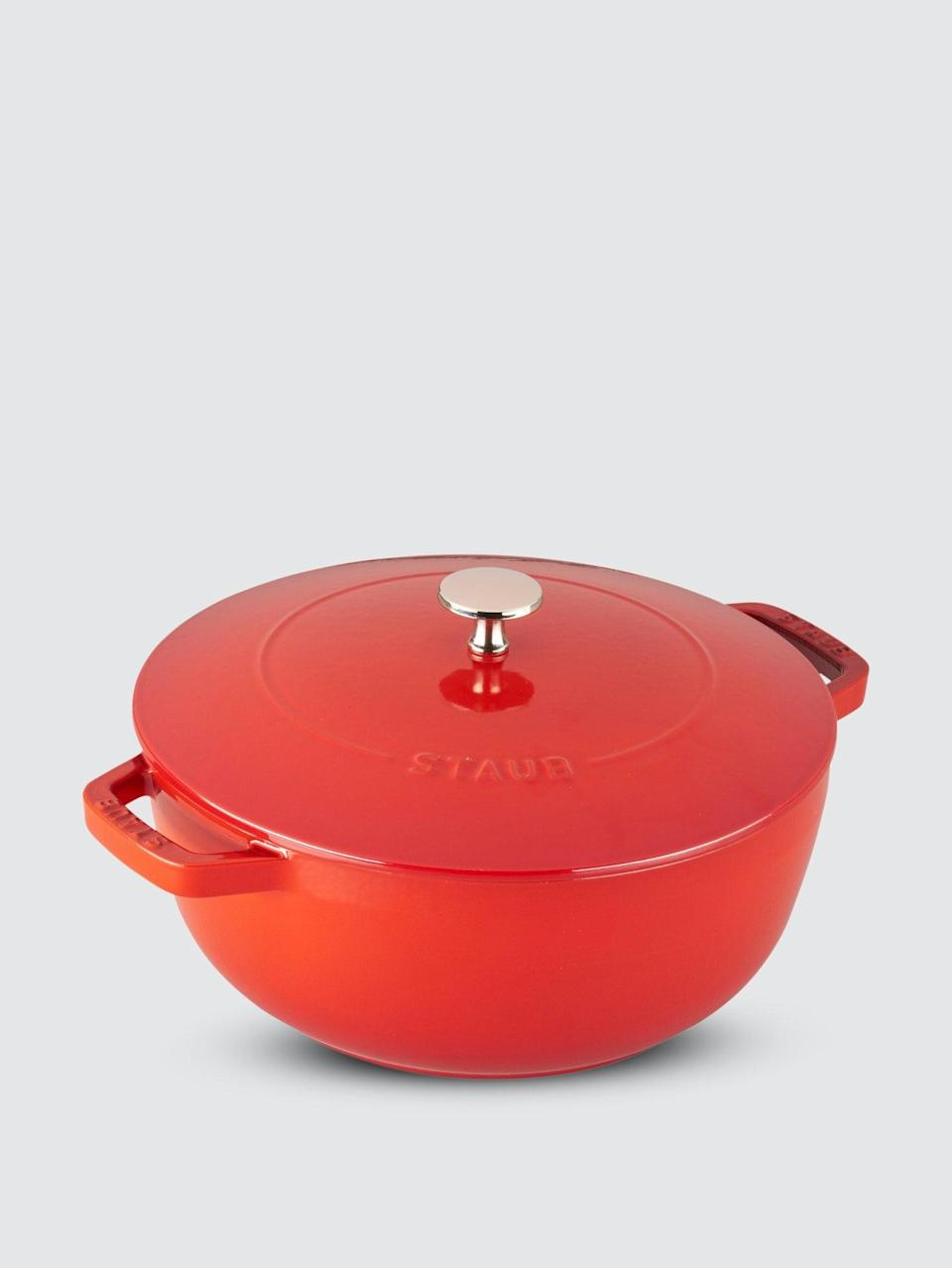 """<br><br><strong>Staub</strong> 3.75-qt Essential French Oven, $, available at <a href=""""https://go.skimresources.com/?id=30283X879131&url=https%3A%2F%2Fshop-links.co%2F1735353633737415962"""" rel=""""nofollow noopener"""" target=""""_blank"""" data-ylk=""""slk:Verishop"""" class=""""link rapid-noclick-resp"""">Verishop</a>"""