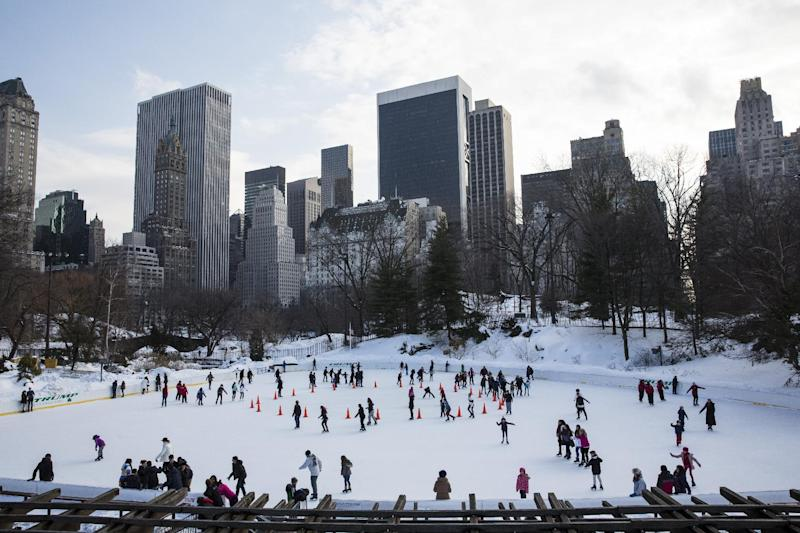 People ice skating in Central Park in New York on February 18, 2014