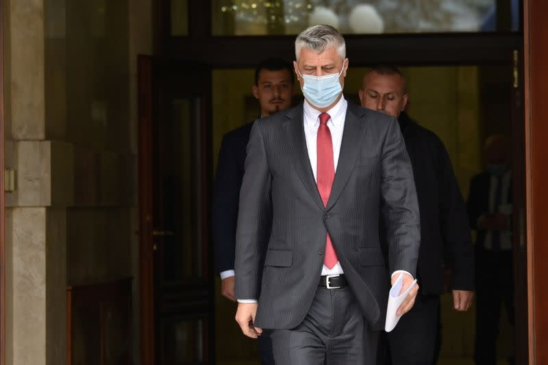 Kosovo's President Thaci arrives for news conference as he resigns to face war crimes charges at ICC