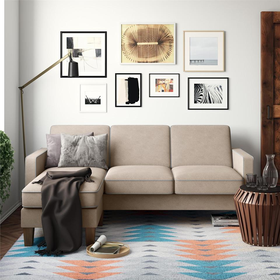 "<p>We love the light shade of this <a href=""https://www.popsugar.com/buy/Bowen%20Sectional%20Sofa%20With%20Contrast%20Welting-473019?p_name=Bowen%20Sectional%20Sofa%20With%20Contrast%20Welting&retailer=walmart.com&price=416&evar1=casa%3Aus&evar9=46426423&evar98=https%3A%2F%2Fwww.popsugar.com%2Fhome%2Fphoto-gallery%2F46426423%2Fimage%2F46426440%2FBowen-Sectional-Sofa-Contrast-Welting&list1=shopping%2Cfurniture%2Csofas%2Csmall%20space%20living%2Chome%20shopping&prop13=api&pdata=1"" rel=""nofollow"" data-shoppable-link=""1"" target=""_blank"" class=""ga-track"" data-ga-category=""Related"" data-ga-label=""https://www.walmart.com/ip/Novogratz-Bowen-Sectional-Sofa-with-Contrast-Welting-Blue/927035486"" data-ga-action=""In-Line Links"">Bowen Sectional Sofa With Contrast Welting </a> ($416, originally $700).</p>"